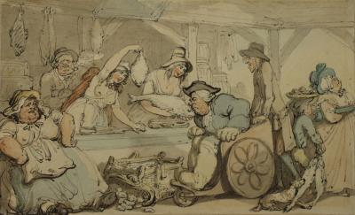 Image: Comforts of Bath: 'The Fish Market', by Thomas Rowlandson, 1798