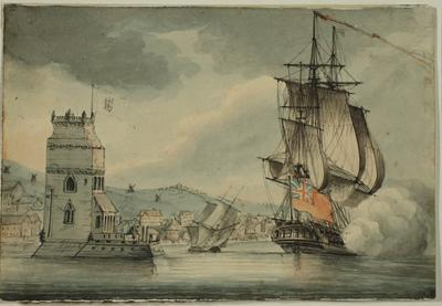 Image: A British Man-o-War in Harbour in the Tagus, Portugal, By Nicholas Pocock, 1809