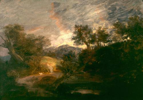 image: Thomas Gainsborough, Hilly Wooded Landscape, c. 1763, on loan from a private collection