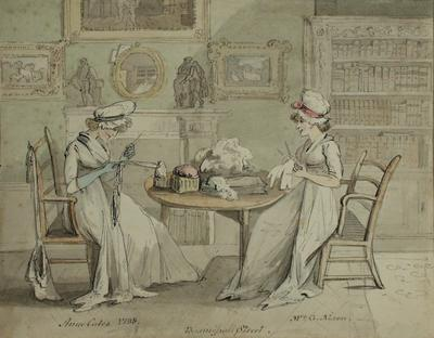 Image: Mrs G Nixon and Anne Coates at Basinghall Street By John Nixon, 1800