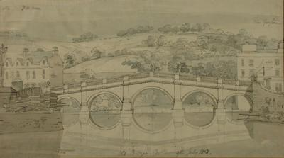 Image: The Old Bridge, Bath, from the West, By Frederick Mackenzie, 1803