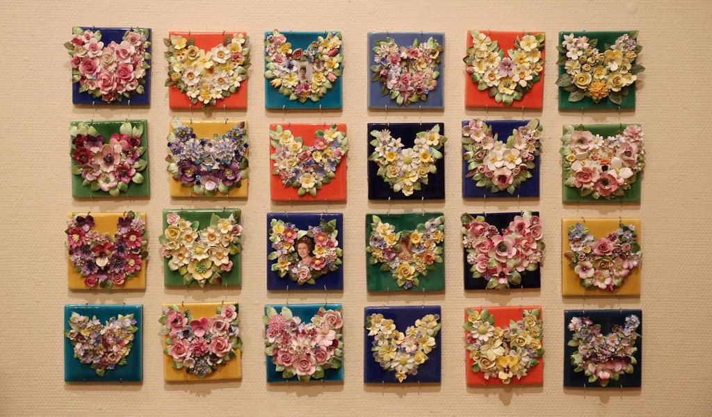 Image: China flower hearts on tiles, Candace Bahouth
