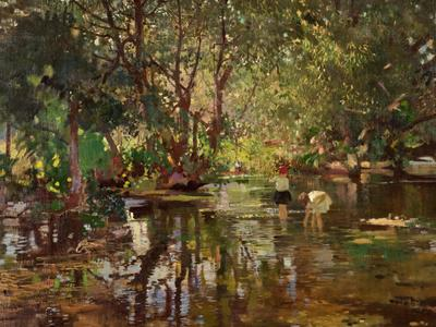 Image: Appleyard Fred, 'Shaded water', oil on canvas, early 20th century