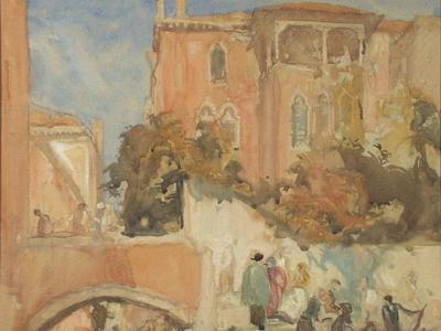 Image: Brangwyn William Frank, 'The landing place, Venice', watercolour, early 20th century