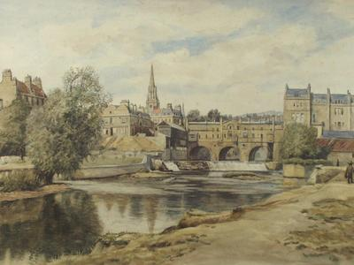 Image: Breton Adela, 'Bath from the Avon', graphite & watercolour, late 19th - early 20th century.