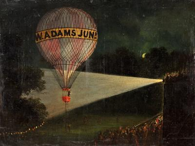 Image: British School, 'A Balloon Ascent at Night' oil on canvas, 19th century.