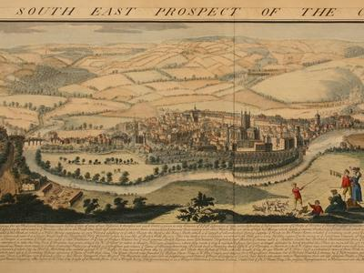 Image: Buck Samuel and Nathaniel, 'South East Prospect of the City of Bath' engraving, early-mid 18thc.