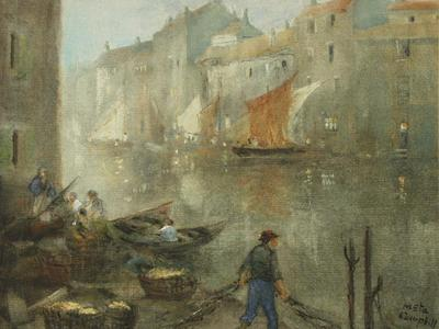 Image: Campbell Nesta Jennings, 'On the canal Ghent', graphite and watercolour, 20th century