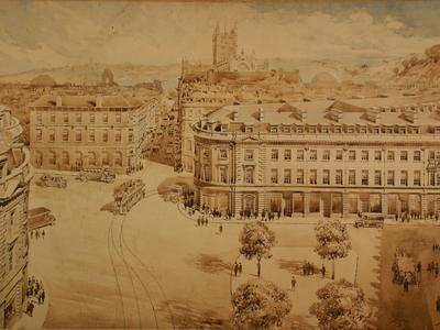 Image: Fare Arthur Cecil, 'New Westgate from Kingsmead Square', graphite and watercolour, 1930s