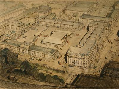 Image: Harvey J.D.M, 'New bus station', graphite and coloured crayon, 1945