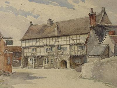 Image: Horton Sarah Elizabeth Roberts, 'The George Inn' Norton St Philip. Graphite and watercolour, 20th century. Adopted by Libby Rose