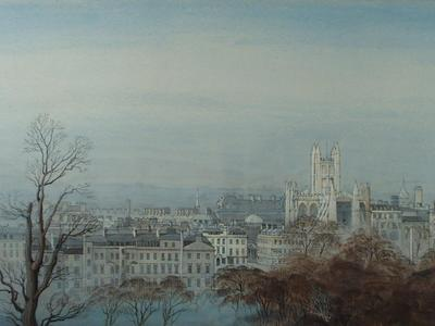 Image: Ison Leonora, 'Bath from the South East', graphite and gouache, 1949. Adopted by a private individual (F)