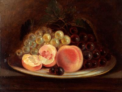 Image: Maggs John Charles, 'A plate of peaches and grapes', oil on board, 1844