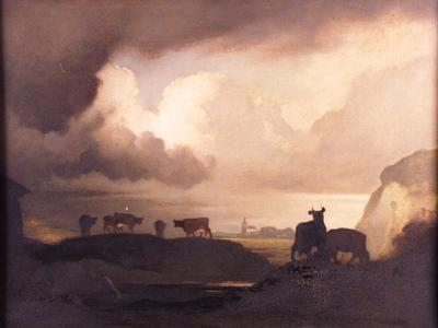 Image: Nicholls Bertram, 'The Gathering Storm: landscape with cattle'. Oil on board, early - mid 20th century. Adopted by Dr Esther Crawley & children for her husband Rupert Stubbs