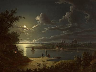 Image: Pether Sebastian, 'Moonlight Scene', oil on canvas, 1819. Adopted in memory of Keith Dale