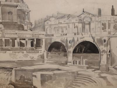 Image: Pulteney Bridge, Bath, watercolour and pencil. Artist: John Nash, c.1927