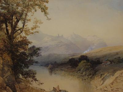 Image: Richardson Thomas Miles (attributed to), 'Landscape two figures by a lake, mountains beyond', watercolour, 19th century