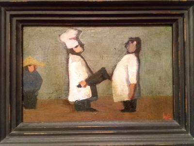 Image: 34. Confrontation Between Two Chefs, oil on wood board, 13.8 x 21.5cm, £450