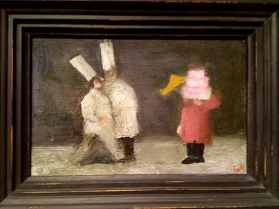 Image: Pink Cake (I Could Have Done Better), oil on wood board, 13.8 x 21.5cm. SOLD