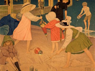 Image: Southall Joseph Edward, 'Children at Play', gouache/tempera/silk, 1920. Adopted by Dr Catriona Reid (F)