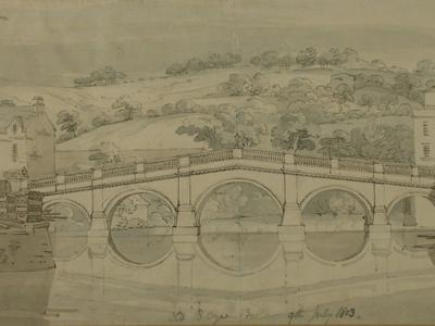Image: The Old Bridge, Bath, from the West, Frederick Mackenzie, 1803