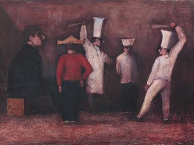 Image: The Unfortunate Chef is disciplined, oil on canvas, 40 x 60 cm, £2650