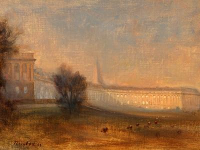 Image: Thornton Alfred Henry Robinson, 'Royal Crescent, Bath from Marlborough Buildings', oil on board, 1909. Adopted in memory of Mary Elizabeth Mason
