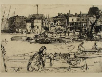 Image: Whistler James Abbott McNeill, 'Black Lion Wharf', etching, 1859. Adopted by Libby Rose