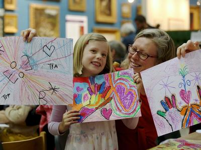 Image: Family taking part in a craft activity