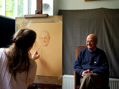 Image: Harriet Bouchard drawing a portrait