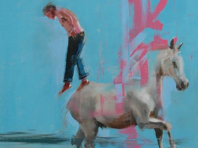 Image: Richard Twose, Self Portrait stepping off a Horse, oil on canvas