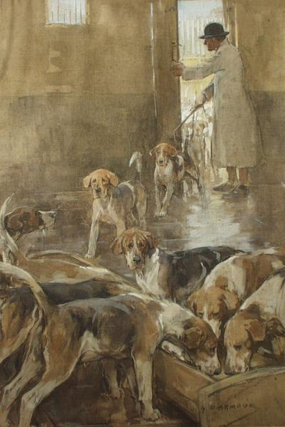 Image: Armour George Denholm, 'Foxhounds Feeding' goache. Adopted by Jenny Gunning