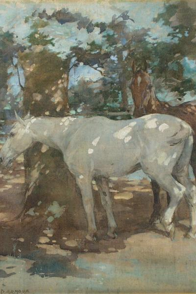 Image: Armour George Denholm, 'Horses Resting', goache. Adopted by Heather Brooke