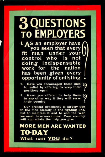 Image: 3 Questions to Employers, 1914-1915