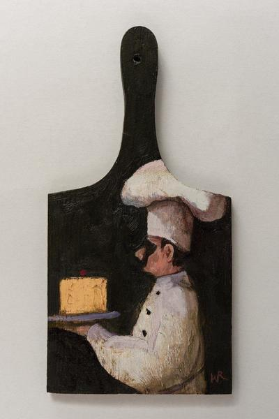 Image: A Nice Piece, oil on wood chopping block, 30.2 x 11.8 cm