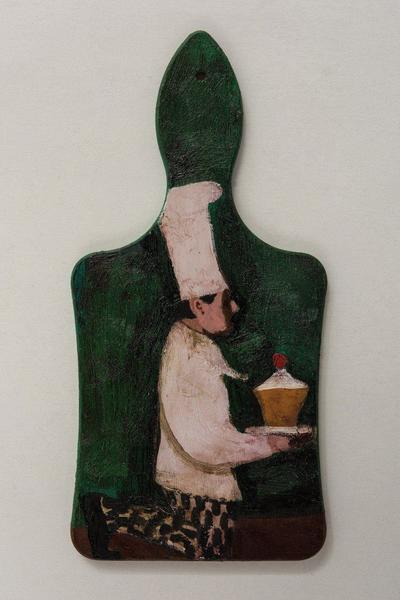 Image: Adoration of the Cupcake, oil on wood chopping block, 29.5 x 14.3 cm, £595