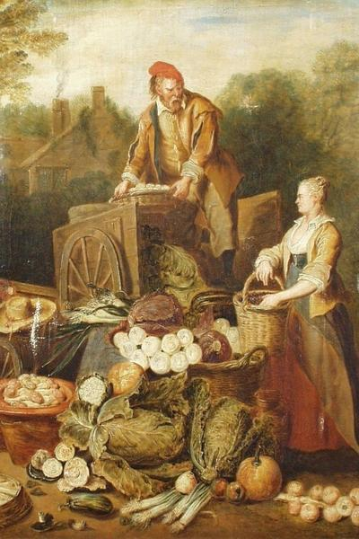 Image: Angillis Pierre, 'Vegetable stall', oil on canvas, early 18th century.