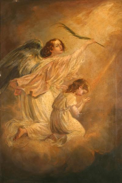 Image: Barker Thomas Jones, 'Angel with child', oil on canvas, 19th century
