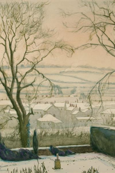 Image: Bull Norma, 'Midsomer Norton' watercolour, 1941.