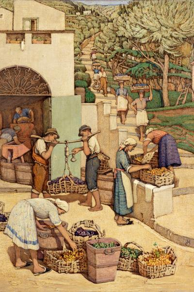 Image: Cochrane Helen Lavinia, 'Bringing Down the Mountain Grapes' Tempera on board, c.1942.