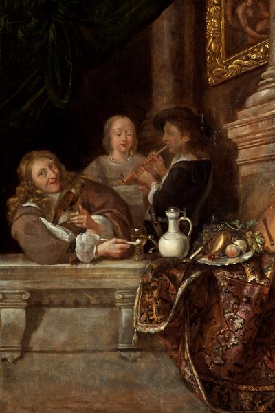 Image: Dutch school, 'A courtship', oil on panel, 18th century
