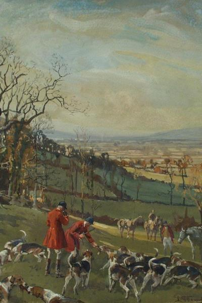Image: Edwards Lionel Dalhosie Robertson, 'Huntsmen and hounds', gouache and graphite, 1924