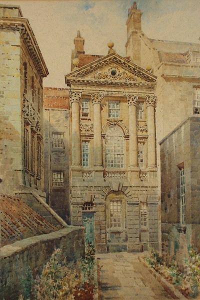 Image: Fare Arthur Cecil, 'Ralph Allen's Town House', graphite and watercolour, c.1940. Adopted by Michael Rowe (F)