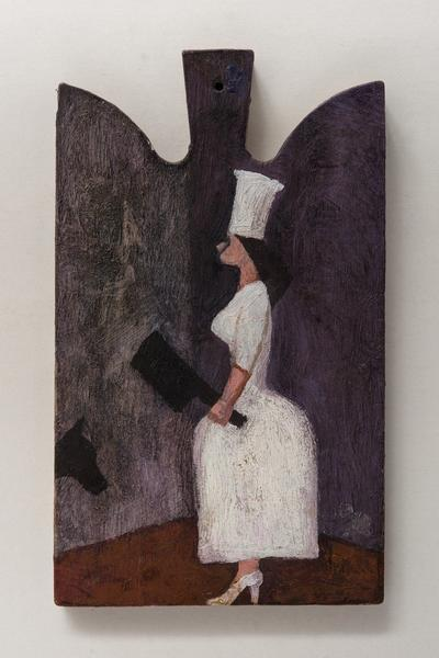 Image: Female Cook with Cleaver, oil on wood chopping block, 36 x 21 cm, £950