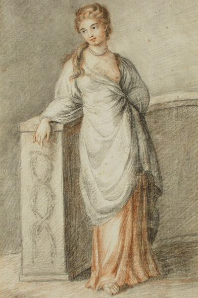 Image: Hoare Prince, (attributed to) 'A girl leaning on a wall', watercolour, 18th - 19th century. Adopted by Dr Michael Rowe (F)