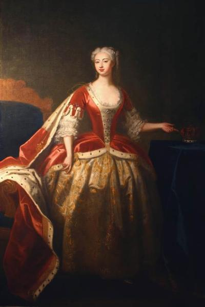 Image: Princess Augusta ( Wife of Frederick Prince of Wales). Jeremiah Davison, 1738. Conservation