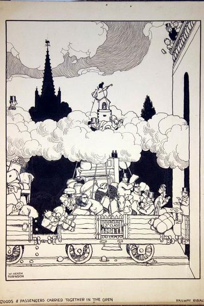 Image: Heath Robinson, Goods and passengers carried together in the open