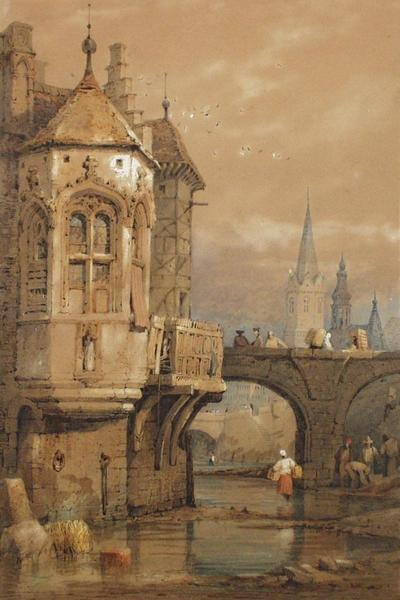 Image: Prout Samuel, 'Continental scene', watercolour and sepia ink, 19th century