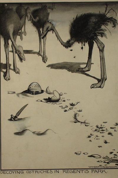 Image: Robinson W. Heath, 'Decoying Ostriches', drawing, early-mid 20th century. Adopted by Tim Bullamore