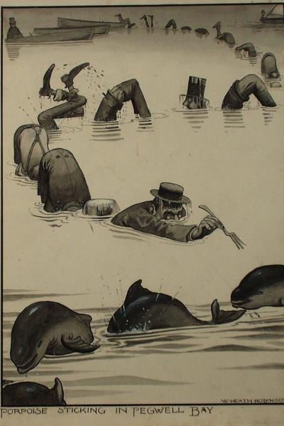 Image: Robinson W. Heath, 'Porpoise in Pegwell Bay', drawing, early-mid 20th century. Adopted by Tim Bullamore